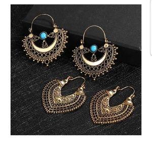 3 Pairs of Boho Vintage Style Earrings
